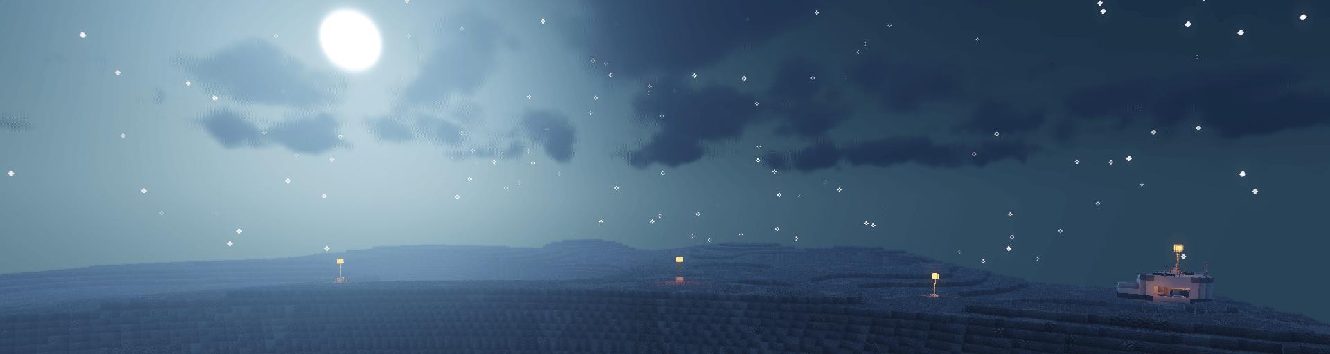 paysage lunaire avec quelques lampadaires au bord d'un cratère